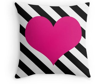 Pink Heart Pillow, Heart Stripe Pillow, Heart Pillow Case, Pink Heart Stripe, Black White Pink Pillow, Pink Bedroom, Pink Bedding, Pink
