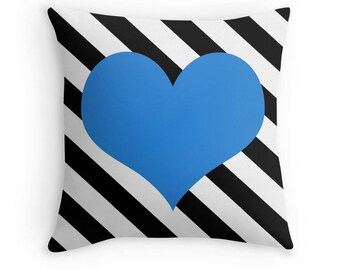Blue Heart Pillow, Heart Stripe Pillow, Heart Pillow Case, Blue Stripes, Black White Blue Pillow, Blue Bedroom, Blue Heart Cushion, Blue