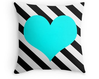 Aqua Heart Pillow, Heart Stripe Pillow, Heart Pillow Case, Aqua Heart Stripe, Black White Aqua Pillow, Aqua Bedroom, Teen Decor, Colorful