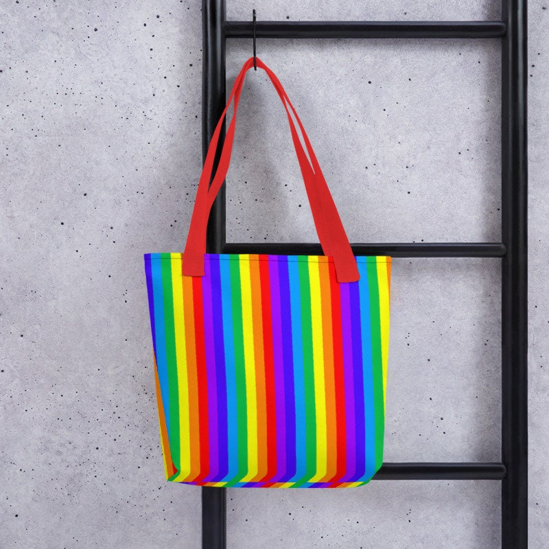f6dc2308076 Rainbow Tote Bag Rainbow Bag Rainbow Stripes Bag Beach Bag | Etsy