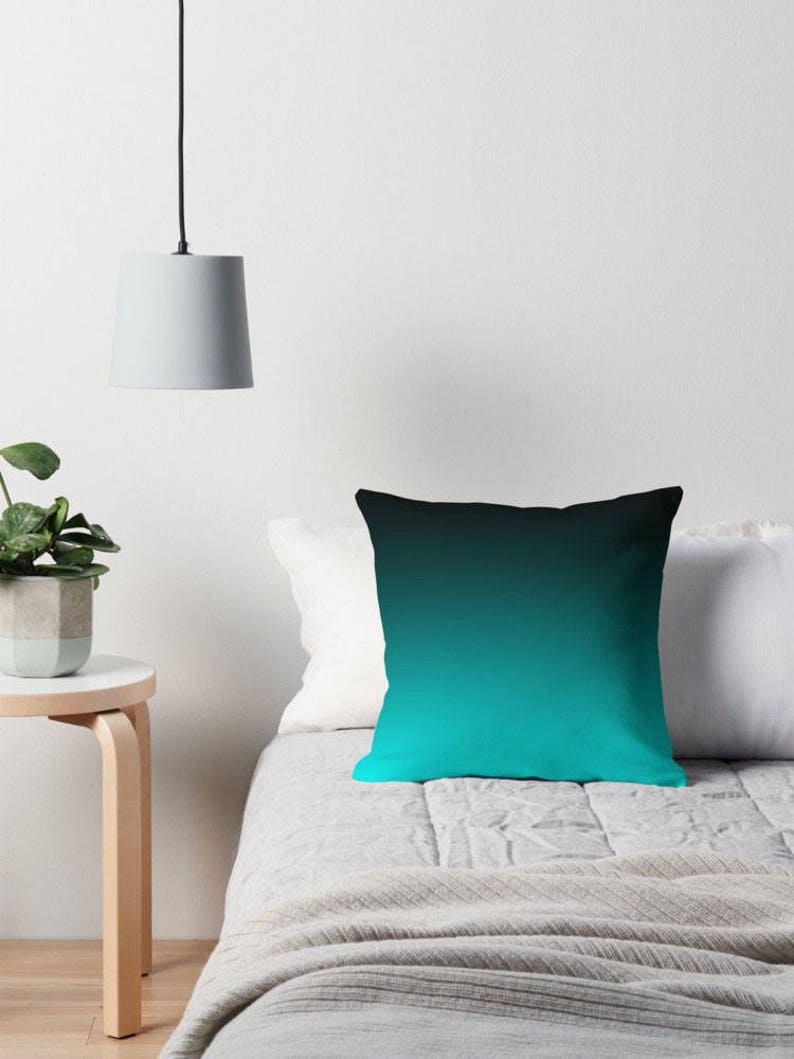 Coussin noir turquoise turquoise noir coussin literie | Etsy