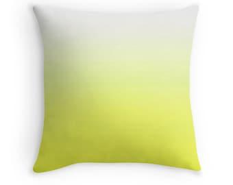 Yellow Pillow, Yellow White Pillow, Yellow Toss Pillow, Yellow Throw Pillow, Yellow Bedding, Yellow White Pillow Cover, Yellow Decor, Yellow