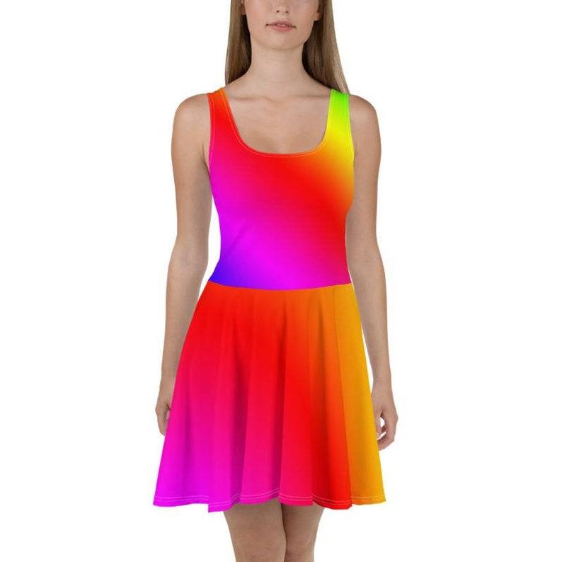 Rainbow Skater Dress, Rainbow Dress, Pride Dress, Plus Size Rainbow Dress