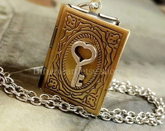 Book locket etsy book locket necklace antique brass book locket with tiny key christmas gift best friend necklace sister gift valentines day gift aloadofball Images
