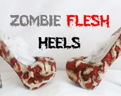 Zombie Flesh Custom Hand Sculpt Paint Red Ribbon Black Skin Shoe Size 3 4 5 6 7 8  Kraken High Heel Platform Blood Gore goth gothic fashion
