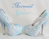 Mermaid Chunky Glitter Custom Personalized Womens Handmade Glitter Shoe High Heel Stiletto Thin Size 3 4 5 6 7 8 Platform Party Christmas UK