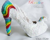 Rainbow Unicorn Sequin Heels Lace Fabric Custom Heel Ribbon White Shoe Size 3 4 5 6 7 8 Wedding Bridal Women floral Horse Fantasy Sparkly
