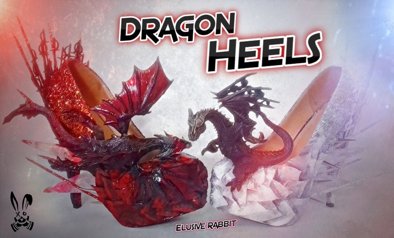 Ice Vs Fire Dragon Heels Custom Black Red Spiked Prism Icicle Dead Sword  Scales Glitter Blue Shoe Size 3 4 5 6 7 8 High Wedge Game