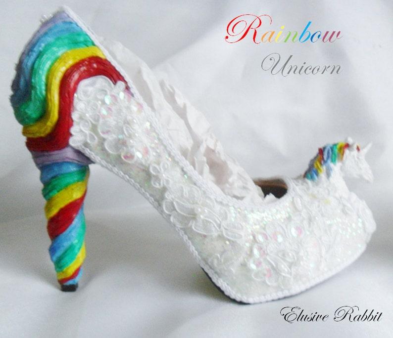 88b7de3e0cd363 Rainbow Unicorn Sequin Heels Lace Fabric Custom Heel Ribbon
