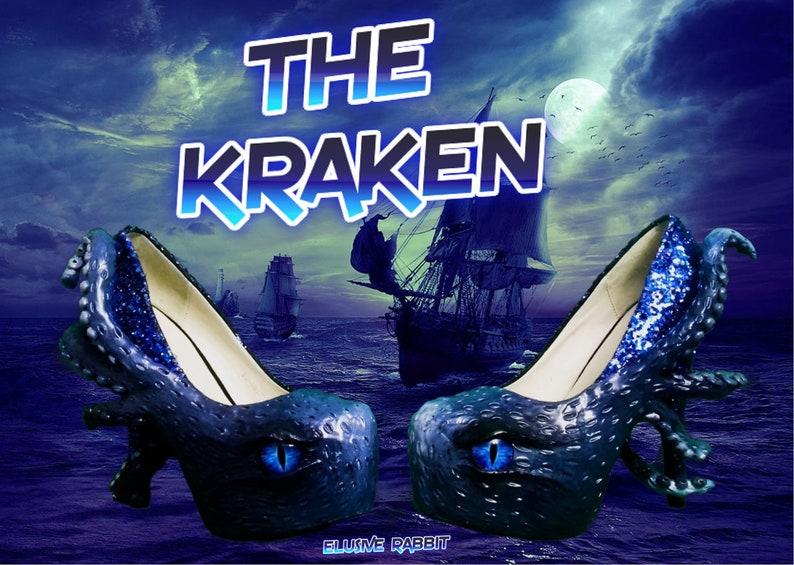 The Kraken Heels Custom Hand Sculpt Paint Black Blue Shoe Size image 0