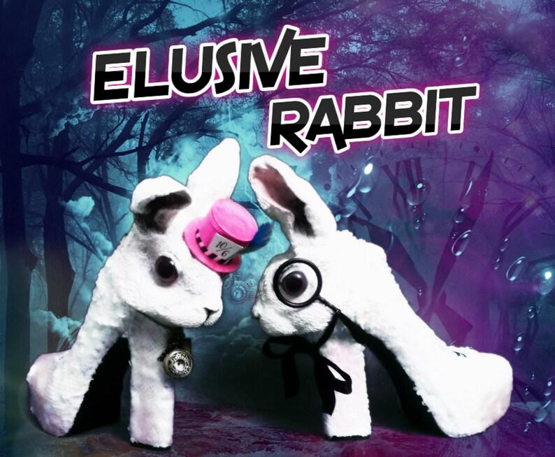 Elusive Rabbit Heels White Pink Mad hatter Sequin Reversible image 0