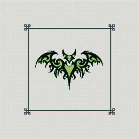 Puntada de Cruz celta patrón de murciélago Tribal contada | Etsy