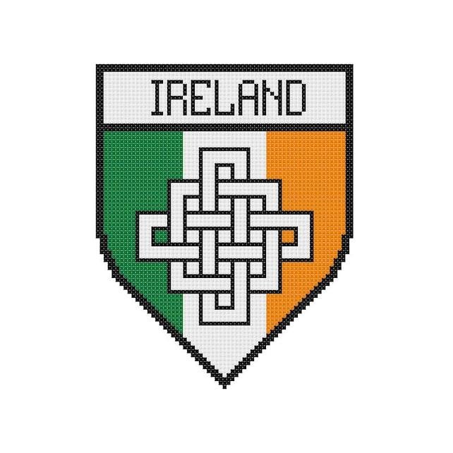 Cruz puntada patrón Irlanda cresta Bandera irlandesa nudo | Etsy