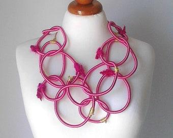 Statement necklace bib necklace statement fiber art jewelry fiber art necklace asymmetrical necklace bright necklace long statement necklace