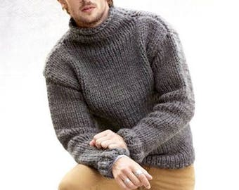 Wool Sweater Men Oversized Sweater Knit Chunky Sweater Hand Etsy