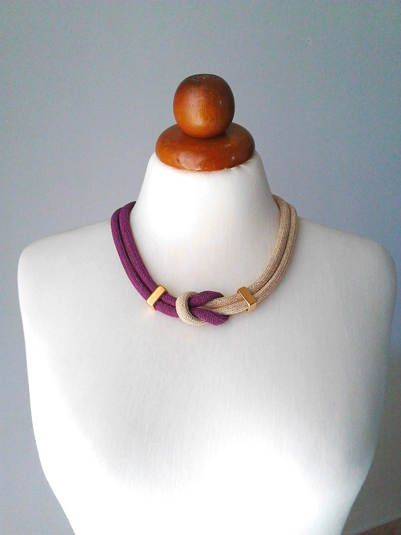 Cord jewelry rope necklace knot necklace cord necklace rope jewelry tube necklace minimal necklace set jewelry set necklace and bracelet