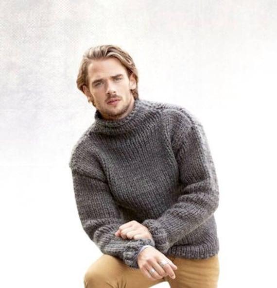 Gray Sweater Men Gift For Him Handmade Sweater Turtleneck Etsy