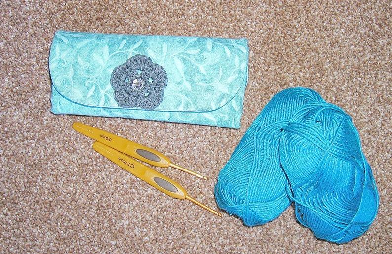 Handmade Crochet Hook Case Fabric Crochet Hooks Holder Blue Etsy