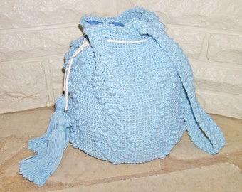 Shoulder bag, beach bag, summer bag, handmade bag, summer tote, drawstring bag, crocheted bag, blue bag, fully lined
