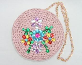 Shoulder bag, handbag, handmade bag, evening bag, casual bag, fully lined, pink, embellished with sequins, fully lined