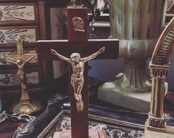 Antique Wood Metal Standing Crucifix