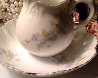 Antique PorcelainForget Me Not 3 Piece Plate Bowel And Pitcher Set