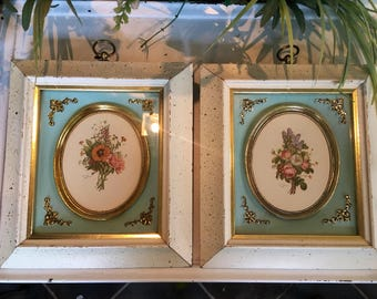Antique Shadowbox Florals Blue Background 2 ShabbyChic Pictures