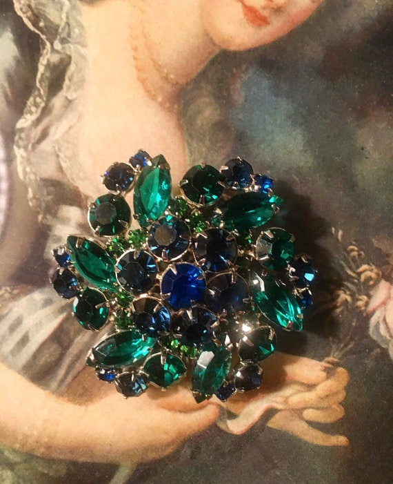 Vintage Blue And Green Stone Brooch