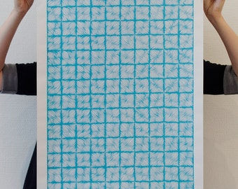 Texturing Lines _ square _ Screenprinted poster