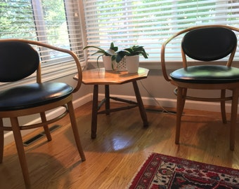 2 Thonet Vintage Maple Cane Bentwood Vinyl Chairs Mid-Century Modern