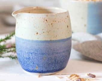 Milk Jug - Hand-Thrown ceramic // blue jug // Gifts for her // two tone jug // wedding gift // coastal inspiration // milk jug