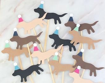 Puppy Dog Birthday Hat Cupcake Toppers, 12 | Dog Theme Birthday Picks | Puppy Party
