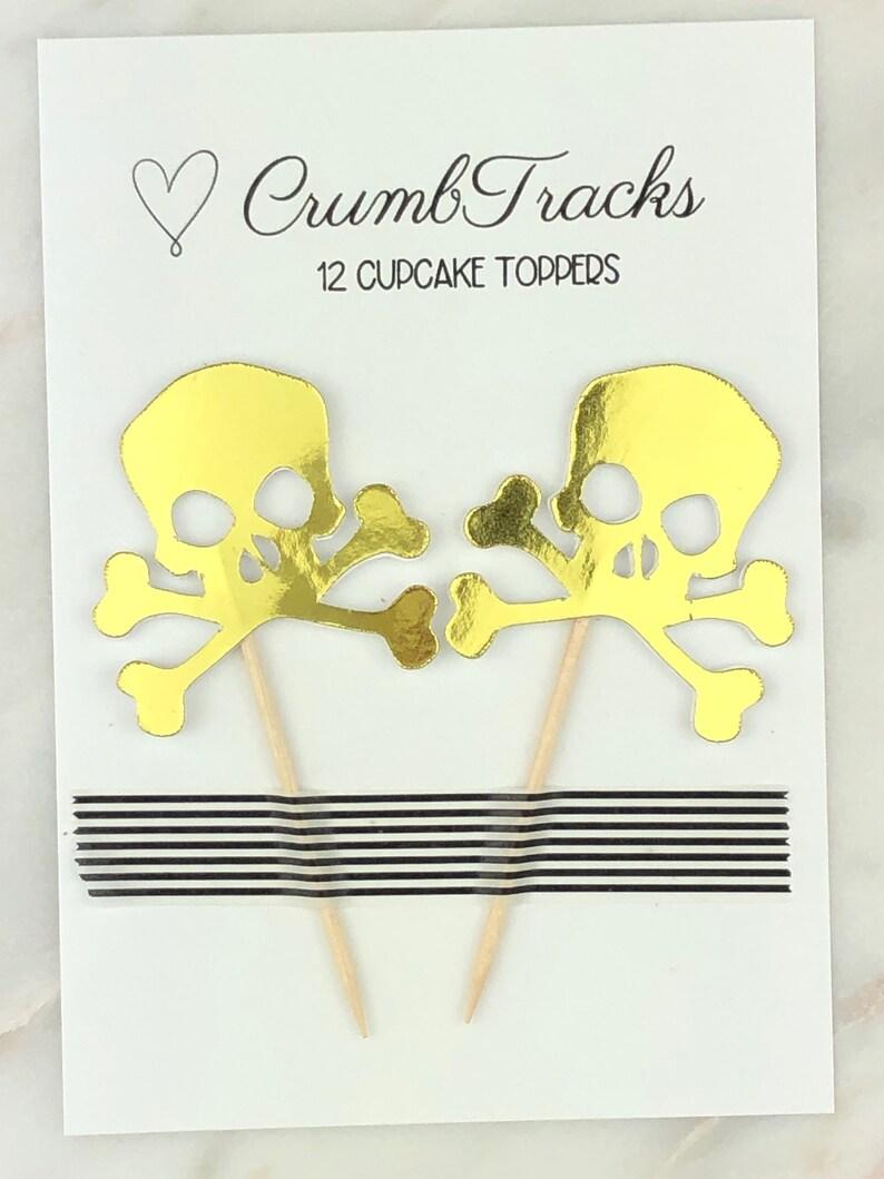 Gold Skull /& Crossbones Halloween Cupcake Toppers Scull and Cross Bones Toothpick Skull and Cross Bones Halloween Toothpick 12