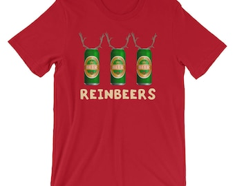 09518a6ac954 Reinbeers Funny Beer Cans Shirt | Reindeer Christmas Holiday Funny T-Shirt  | Rudolf The Beer Cool Xmas Party Costume Short-Sleeve Unisex Tee
