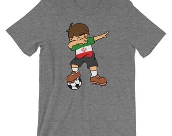 59ca22e431c Iran Soccer Ball Dabbing Kid t-shirt | Iranian Football 2018 T-Shirt |  Football Player Funny Unisex Shirt | National Flag Pride Short-Sleeve