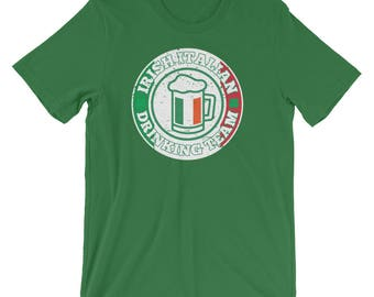 8133f9ec Irish Italian Drinking Team With Italy Flag Colors Funny Unisex Shirt | Day  Green Shamrock Clover Drunk Beer St. Patty's Ireland Holiday Tee