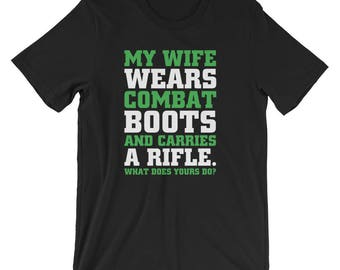 48a17909 My Wife Wears Combat Boots Funny Humor Unisex Shirt | Army Husband's Wife  Marine Corps Outfit T-Shirt | Best Seller Gift Short-Sleeve Tee