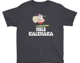 Mele Kalikimaka Surfing Santa Funny Youth Shirt | Hawaiian Merry Christmas Celebration Kids T-Shirt