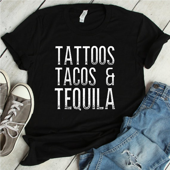 Tequila Tattoos Tacos Mexican Foodie Gift Short Sleeve T-Shirt Tees Tshirts