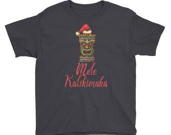 Tiki Santa Mele Kalikimaka Hawaiian Youth Shirt | Hawaii Merry Christmas Funny Humor Kids T-Shirt