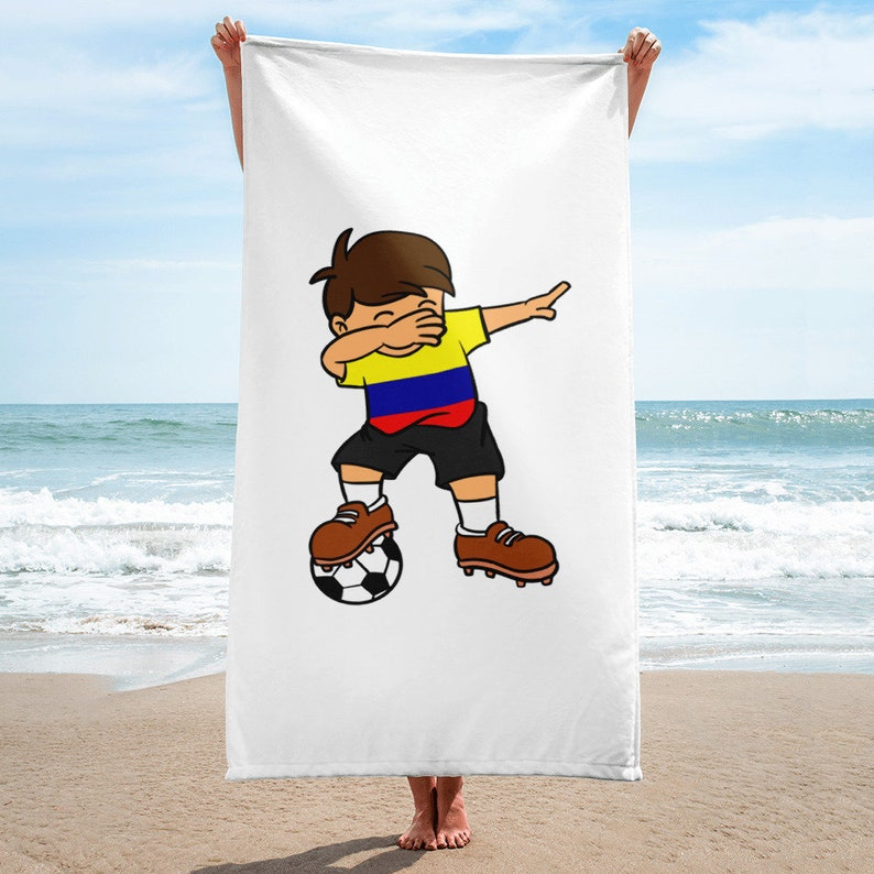 d1610c94eab Colombia Soccer Ball Player Towel Dabbing Colombian Kid | Etsy