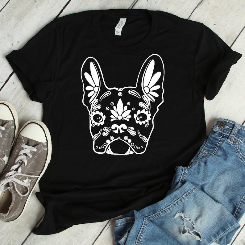 5e997c5d34 Sugar Skull Pug Dog Flowers Calavera Shirt Dia De Los
