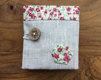 Linen Teabag Wallet with floral lining