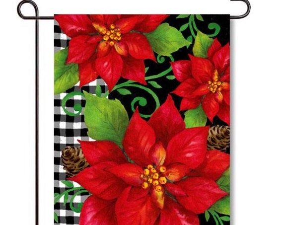 Buffalo Plaid Christmas Flag,  Poinsettia Christmas Flag, Buffalo Plaid Flag,  Custom Decor Flag, Garden and Hous