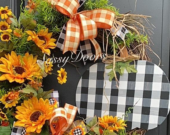 Fall Wreath, Pumpkin Wreath, Buffalo Plaid Pumpkin Wreath