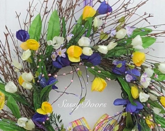 Spring Wreath, Spring Grapevine Wreath, Summer Wreath, Spring front door wreath, Wreath With Purple, Spring and Summer wreath