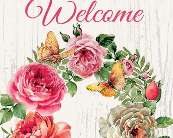 Spring Flower Wreath Flag, Welcome Garden Flag,