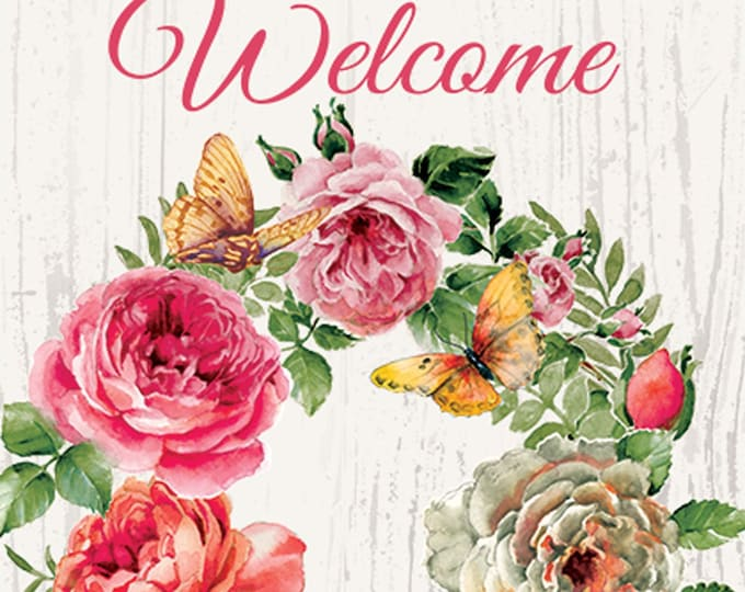 Spring Flower Wreath Flag, Welcome Garden Flag,