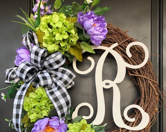 Monogram Wreath- Summer Wreath-Summer Monogram Wreath- SassyDoors Wreath- Wreath for Front Door