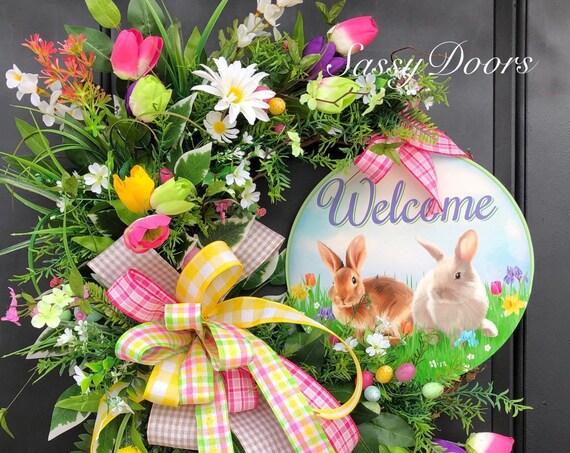 Easter Wreaths, Tulip Wreath, Easter Grapevine Wreath, Spring Wreath, Sassy Doors Wreath, Easter Door Wreath, Easter Decor